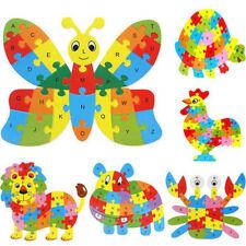 10 PCS Wooden Animal Alphabet Puzzle Toys for Boys & Girls Ages 3+ (AP-10-W)