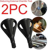 2PCS Deburring External Chamfer Tool Steel Remove Burr Tools Drill Bit Tool