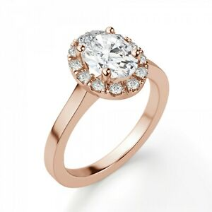 1.20 Ct Moissanite Oval Cut Rose Gold Wedding Ring 14K Solitaire Girl ring