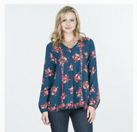 Matilda Jane Women's Size Medium Blouse Shirt Top Long Sleeve Navy Blue Floral