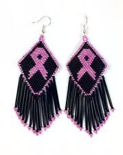 NEW BLACK PINK RIBBON BREAST CANCER AWARENESS HANDMADE BEADED EARRINGS 58/36