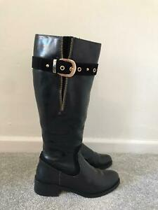 Clarks Boots Size 3 Black Leather Knee High Biker Riding Boots EU 36