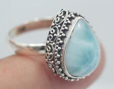 Handmade Sterling Silver 925 Bali Swirl Dome Ring w Teardrop Larimar Gem Size 9