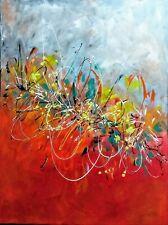 """Yvette Andino Art, original abstract painting 40""""x 30"""" red, gray, yellow"""