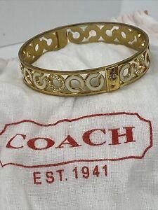 Coach Bracelet Bangle Enameled White & Crystals Signature  Gold  J4