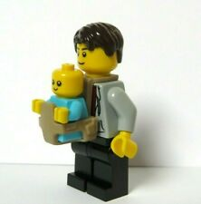 LEGO Father Dad Minifigure & Azure Blue Baby With Carrier Holder
