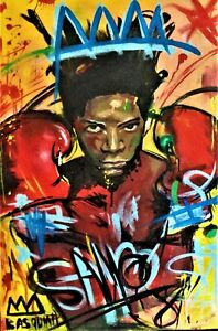 JEAN-MICHEL BASQUIAT ORIGINAL HAND  PAINTED AND SIGNED OIL ON CANVAS