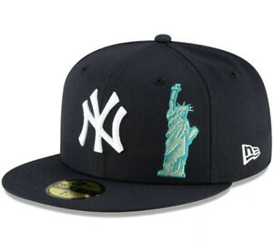 NEW YORK YANKEES New Era STATUE OF LIBERTY BIG APPLE Hat Navy Cap Fitted 7 1/2