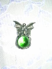 """BABY DRAGON ENCRUSTED LIME GREEN GEM BALL 18"""" NECKLACE"""