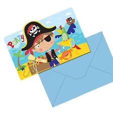 8 Little Pirate Invitations Postcards Birthday Party Invites Treasure Map Island