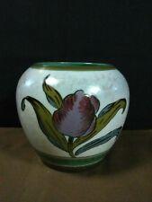"Lovely Vtg. Royal Gouda Zuid-Holland Pottery Hand Painted Decor""Irene""Tulip Vase"