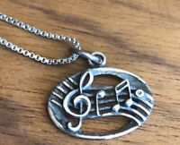Music Charm Pendant TREBLE CLEF MUSICAL NOTE STERLING SILVER Delicate 925 Chain