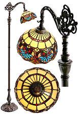 """Amazing """"Boheme""""Style Edwardian Stained Glass Bridge Arm Tiffany Floor  Lamp"""