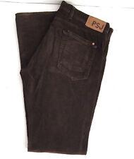 Paul Smith Mens Corduroy Pants 36L Long Dark Brown Button Fly Straight Leg 36X35