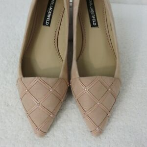Karl Lagerfeld Nala Shoes Size 8.5 39 B Light Pink Suede Pointed Toe Flats
