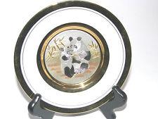 Chokin Collector Plate Panda Bears Design 24kt Gold Trim, Must See!