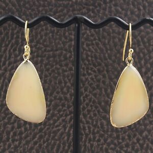Real Lemon Agate Slice 24K Gold Plated Drop Dangle DIY Earrings Jewelry Supplies