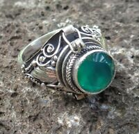 Size 9 (US) Gemstone Solid Silver, 925 Balinese Poison Design Ring 39178