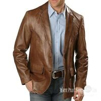 Gent Lace leather Suit Blazer Men patch pocket 2 button Lapel 1 back slit jacket