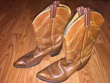 Used Men's Tony Lama Brown Leather Cowboy Boots SZ 9 Western Made in Texas