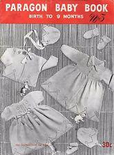 Paragon Baby knitting pattern book #3 0-9m jumper dress bonnet shoes vintage