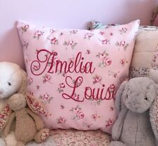 PERSONALISED Embroidered Cushion Cover Clarke & Clarke Pink Rosebud Girl