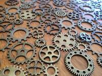 1-100 Bronze Gear Charms for Craft & Scrapbooking