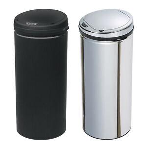 Kitchen Stainless Steel Silver Black Round Sensor Bin Waste Dust Bin 42L / 50L