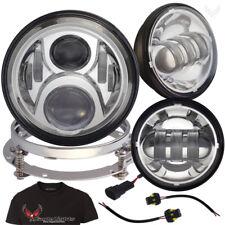 """Eagle Lights Chrome 7"""" G2 LED Headlight w/ Spot Light Kit 2013 and Older Harley"""