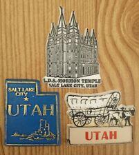 Lot of 3 Utah State Refrigerator Magnets L.D.S. Mormon Temple Salt Lake City