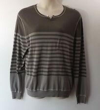 Threads & Heirs Women Size XL Gray Green Stripe Thin Knit Sweater Pullover NWT
