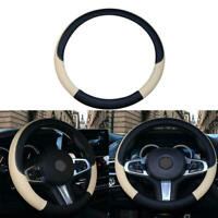 PVC Leather Car Steering Wheel Cover Anti-slip Protector 38cm Black Beige gfr