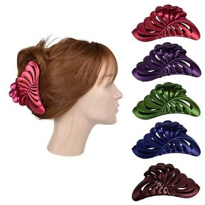 "5"" Large Jaw Clip Jumbo Hair Claw w/Pearlized Leaf design Women's Hair Accessory"