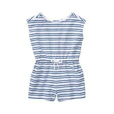 NWT Janie & Jack:Sport  Marine Blue & White Striped Romper Girls sz 6