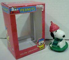 Kurt S Adler Peanuts Snoopy on Snow Sled Disc Saucer Ornament