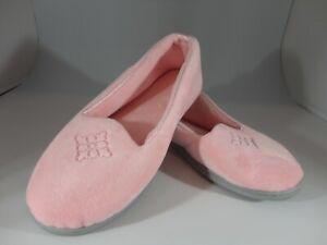 Dearfoam Ladies Pink Soft Velour Slippers Shoes Medium Sz 7-8 MN