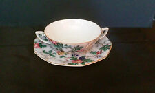 ANTIQUE CROWN DUCAL FLAT CREAM  SOUP BOWL AND SAUCER ASCOT PATTERN