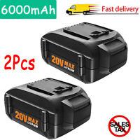 2X WA3520 WA3525 WA3578 Battery For WORX WA3575 20V Lithium 6.0Ah WG160.4,WG160