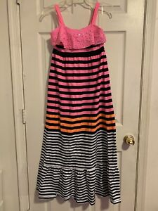 NWOT Justice ruffle stripe maxi Dress sz 14