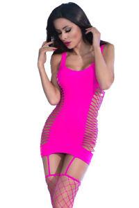 Sexy Strapskleid Pink mit Strümpfen Netz Netzstrümpfe Netz-Einteiler Gr. S/M