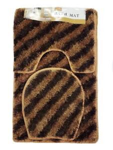 Luxury 3PC  Soft Shaggy Bath Set Bath Mat Toilet Cover Contour Striped Design