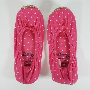 Woman Within Dreams & Co Pink White Polka Dot Ballerina Slipper XL 9.5 -10.5 NEW