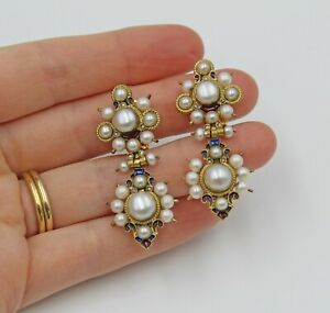 Vintage Percossi Pappi Cultured Pearl Enamel Gold Plated Clip Drop Earrings