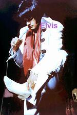 ELVIS PRESLEY WITH RED SCARF & WHITE BOOTS DETROIT MI 9/11/70 PHOTO CANDID