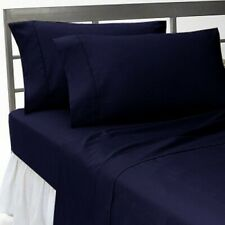 Extra PKT 3 PCs Fitted Sheet 100%Pima Cotton 1000 TC UK Size  Navy Blue Solid