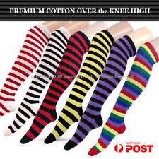 Premium Cotton Stripe Over the Knee High Socks - Girls Ladies Cheerleader 2-8