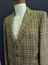 Mad Cool 60s Vintage HYDE PARK CLOTHES Brown Plaid Wool Two Button Mens Blazer