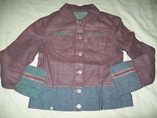 Occhi Verdi Raspberry Glitter & Stonewashed Trim Denim Jacket size 8
