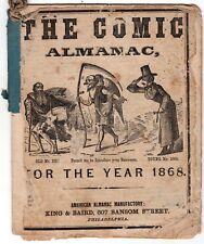 SCARCE 1868 The Comic Almanac Publ. Philadelphia, Pennsylvania - Tables, Jokes
