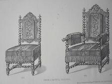 Chaise fauteuil vieux bois GRAVURE le MAGASIN de MEUBLES Victor QUETIN XIXéme